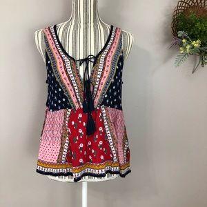 NWT Patrons of Peace boho sleeveless blouse color
